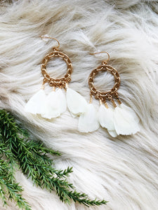 Gold Chain Ivory Feather Earrings