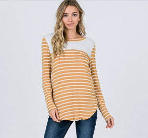 Mustard Striped Elbow Patch