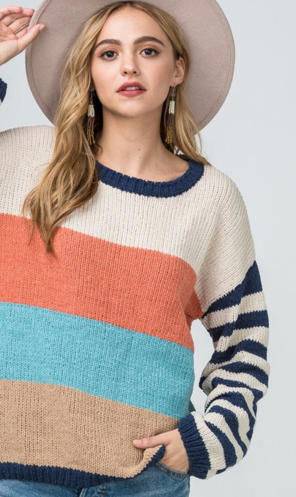 Chenille Colorblock Pullover Sweater