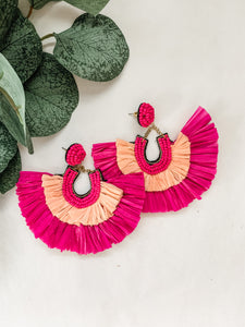Fuschia Raffia Earrings
