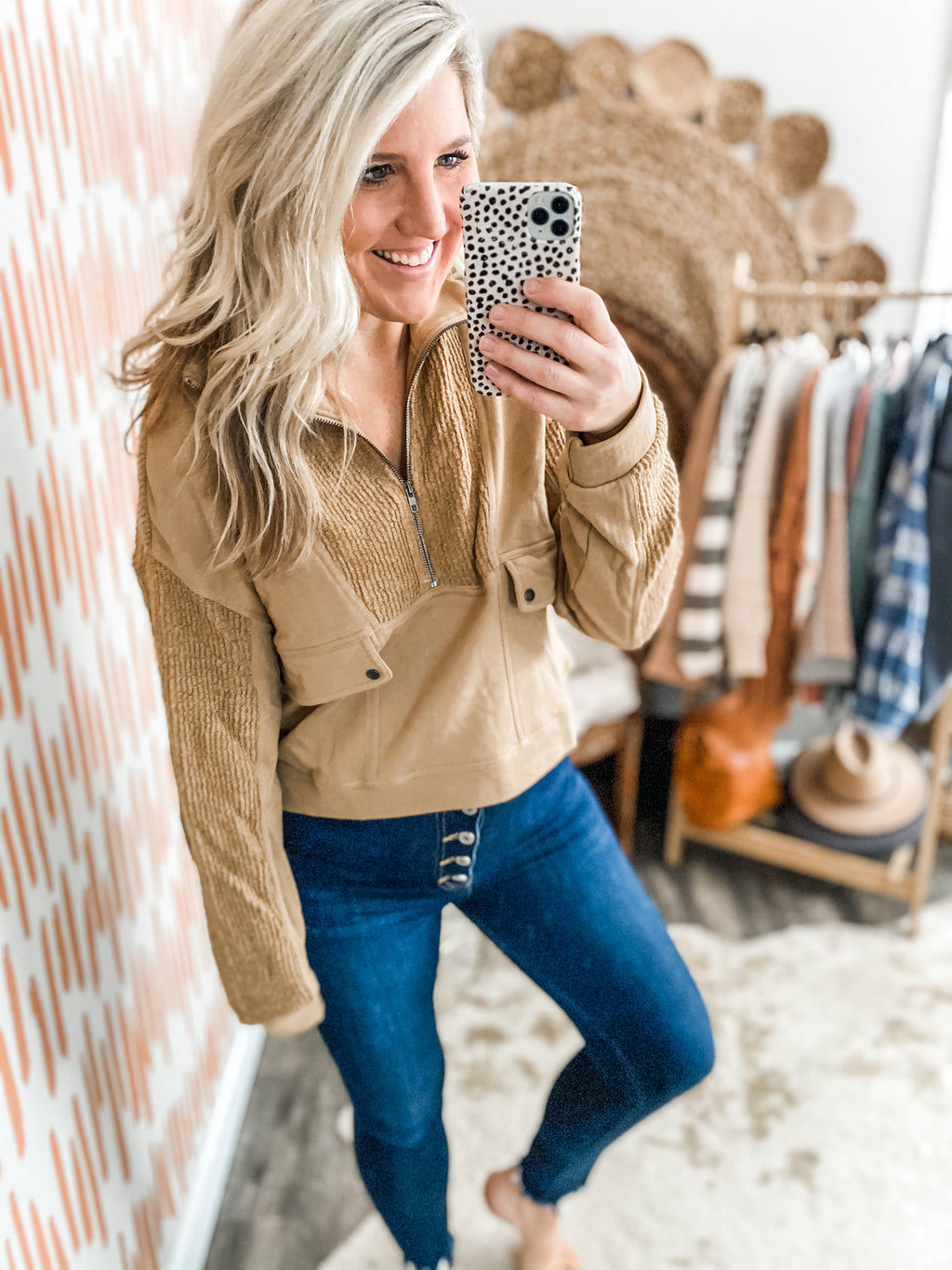 Brown Sugar Half Zip Pullover