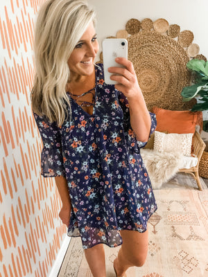 Navy Floral Lace Up Bell Sleeve Dress