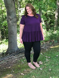 Plum Scoop Neck Peplum Top
