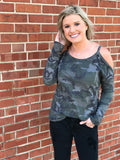 Camo Cold Shoulder Waffleknit Thermal
