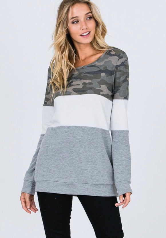 Camo Colorblock Tunic Top