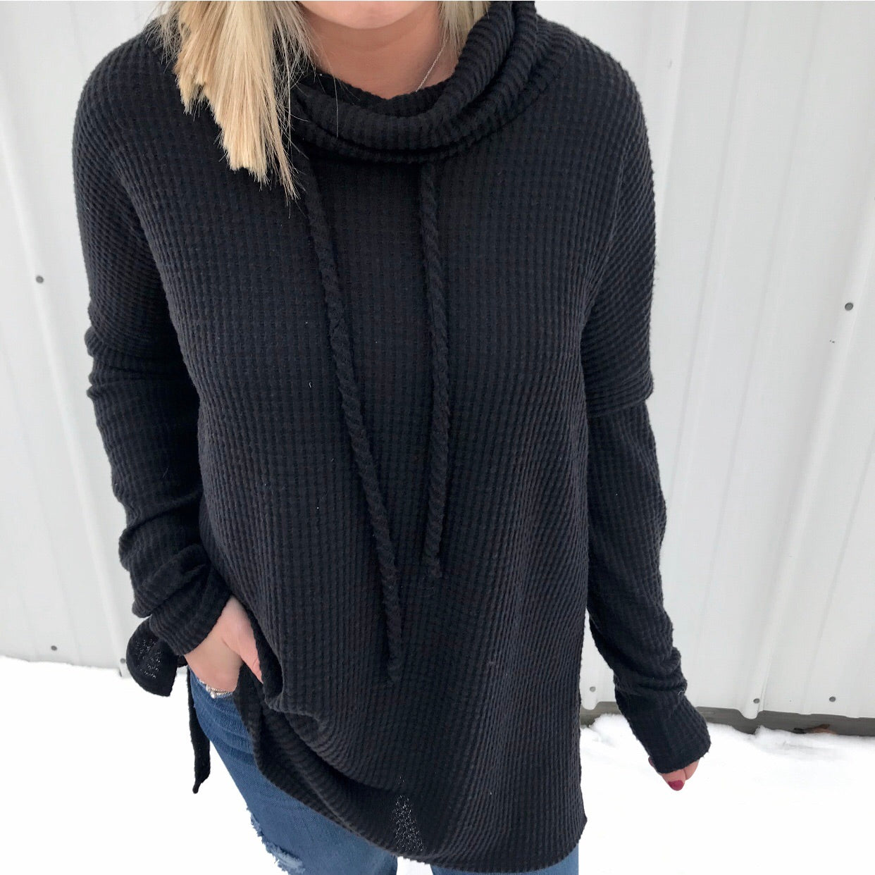 Black Cowl Neck Tunic Top