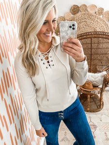 Stone Lace Up Cropped Hoodie