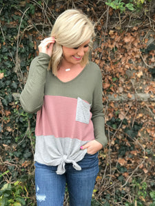 Colorblock Waffleknit Knotted Top