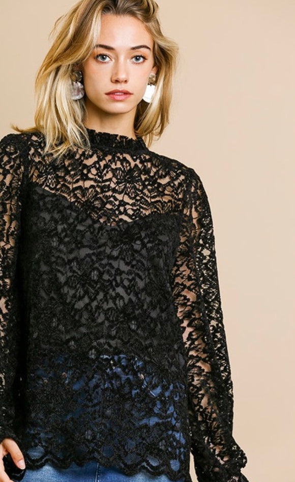 Black All Over Lace Top