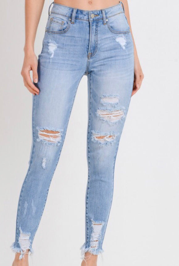 Light Wash Distressed Raw Hem Skinnies