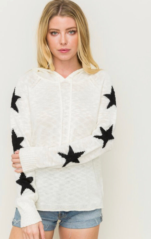 Ivory Star Sleeve Pullover