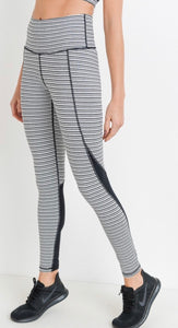 Black & White Striped Colorblock Leggings
