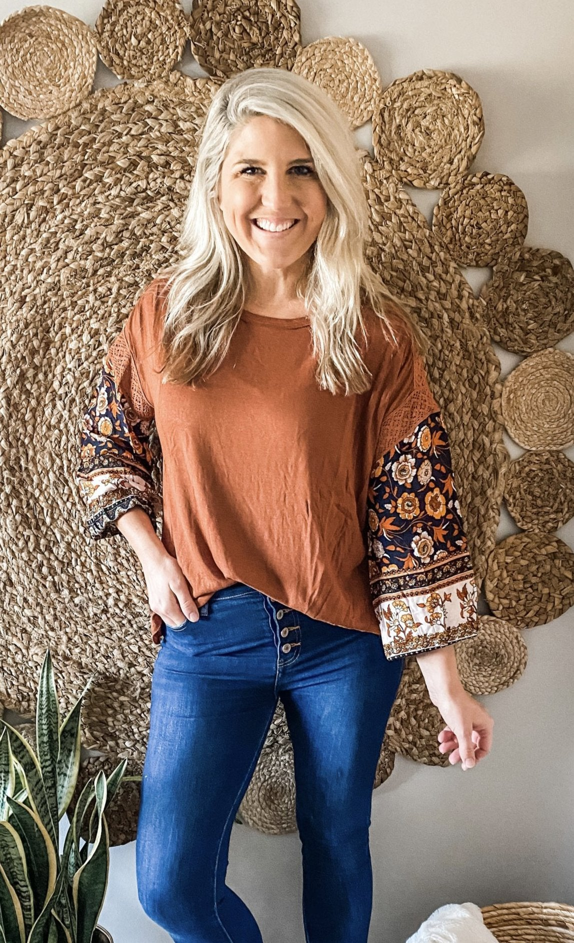 Rust Floral & Crochet Printed Sleeve Top