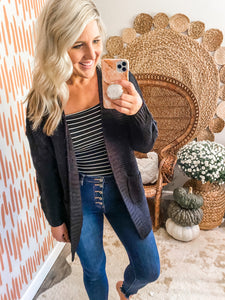Black Braided Pocket Cardigan