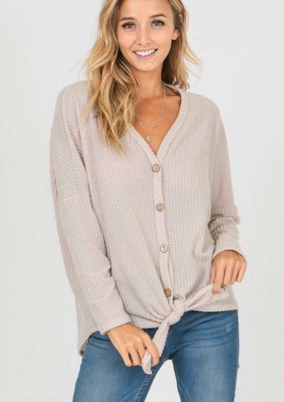 Oatmeal Button Detail Thermal Top