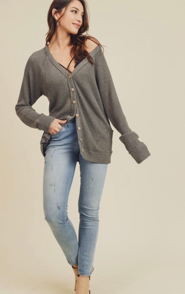 Charcoal Button Front Waffleknit Top
