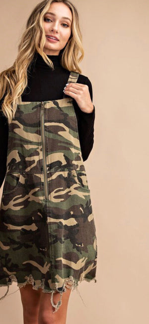 Camo Overall Zip Detail Dress