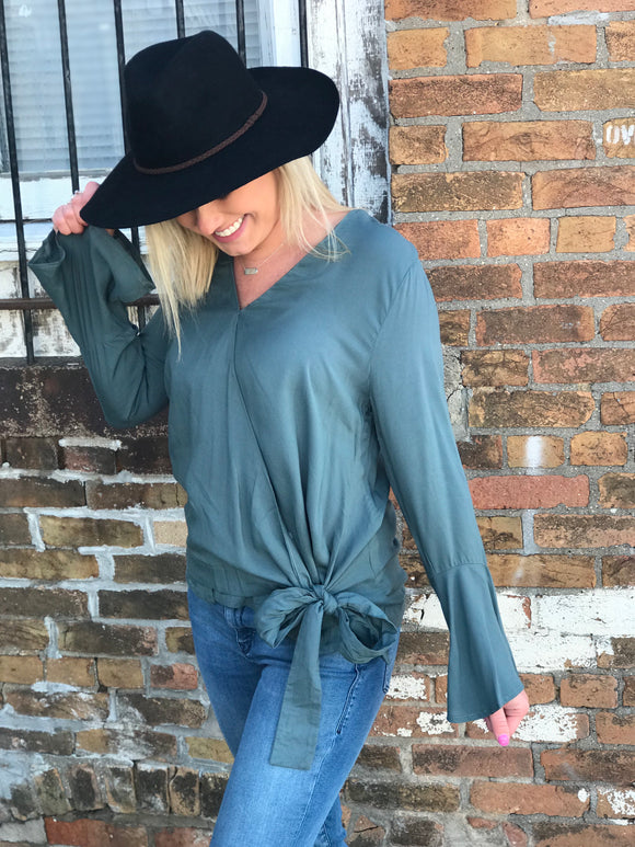 Sea Green Bell Sleeve Wrap Top