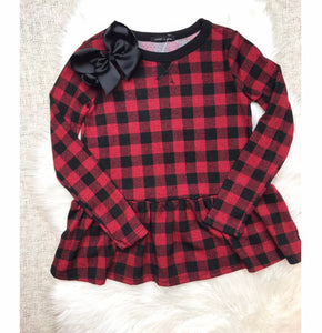 Buffalo Plaid Peplum Ruffle Top