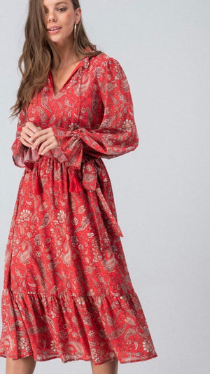 Red Boho Paisley Ruffle Midi Dress