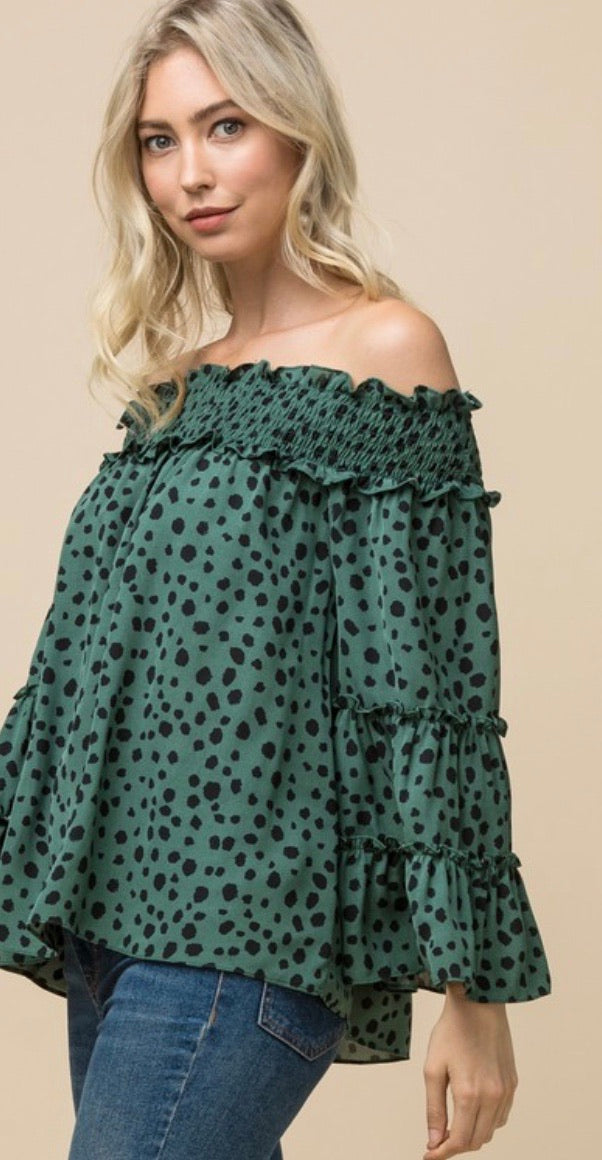 Sea Green Dotted Off the Shoulder Blouse