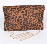 Leopard Print Clutch with detachable chain