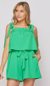 Kelly Green Tie Romper