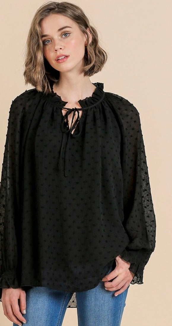 Black Swiss Dot Tie Neck Blouse