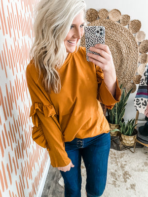 Camel Ruffle Arm Detail Top