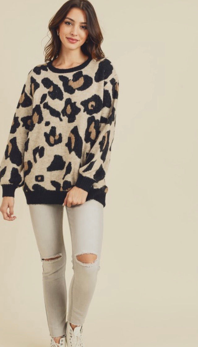 Beige Leopard Black Band Sweater