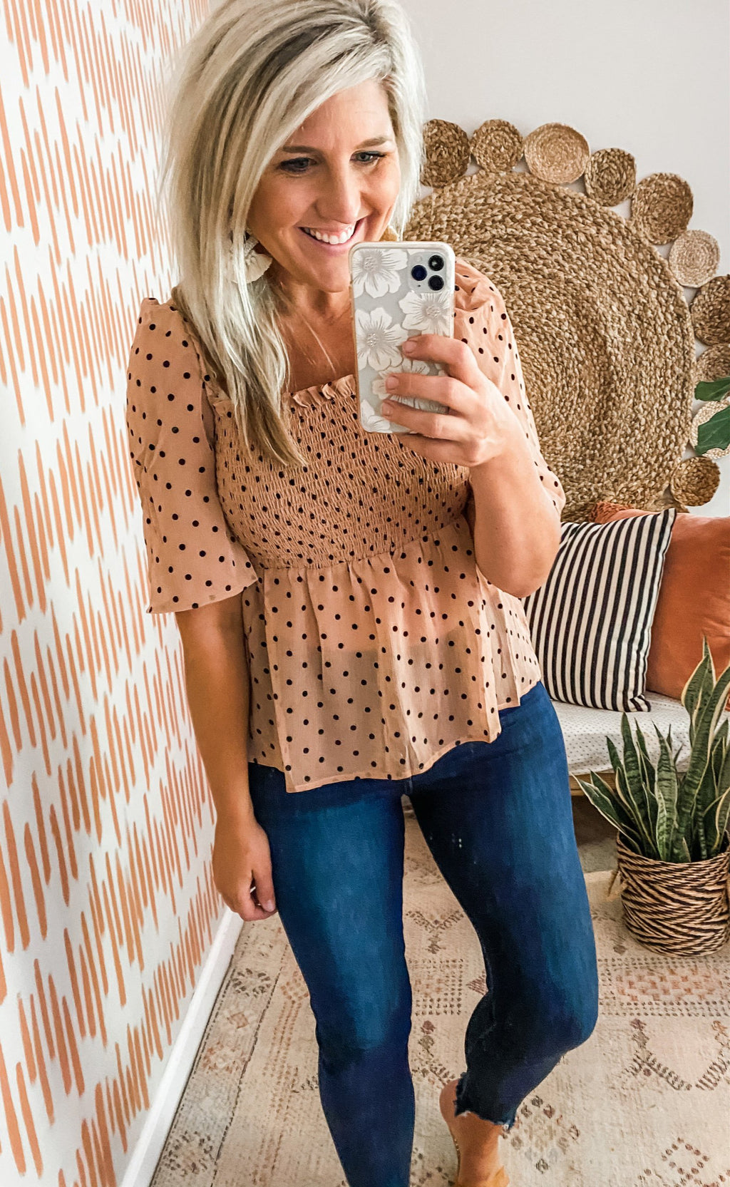 Taupe Polka Dot Smocked Top
