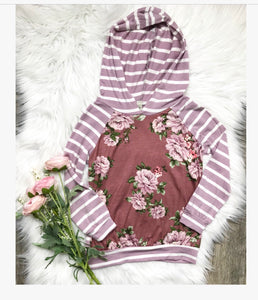 Dusty Rose Floral/Striped Hoodie