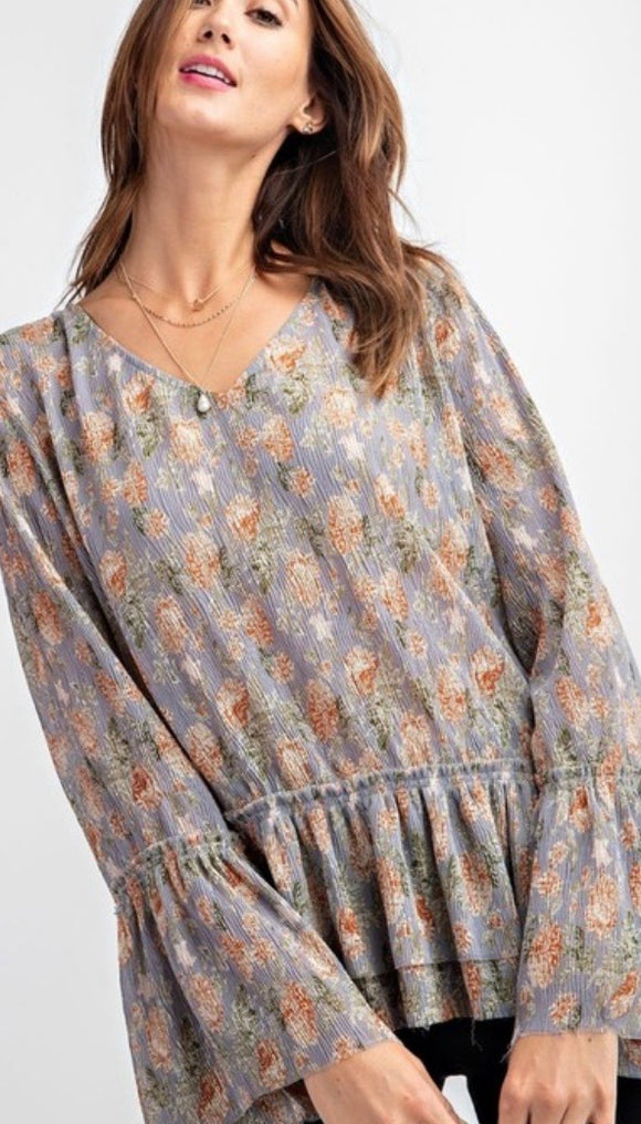 Blue Grey Floral Double Ruffle Blouse