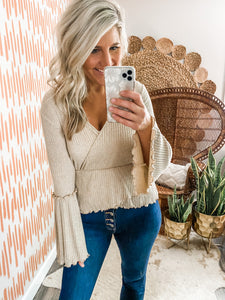 Taupe Ribbed Bell Sleeve Top
