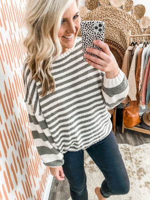 Light Olive Striped Sweater