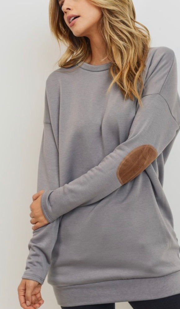 Grey Elbow Patch Tunic Sweatshirt