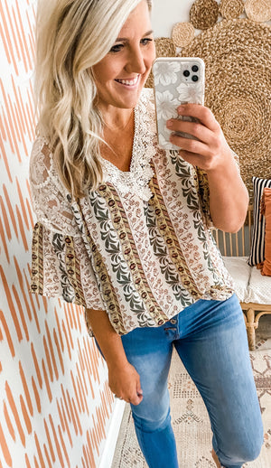 Cream Printed Crochet Detail Top