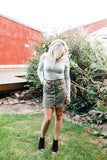 Olive Button Down Faux Suede Skirt