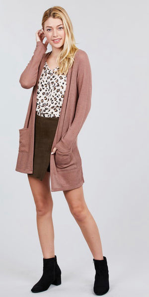 Rosewood Open Front Pocket Cardigan