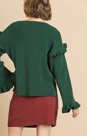 Hunter Green Ruffle Sleeve Sweater