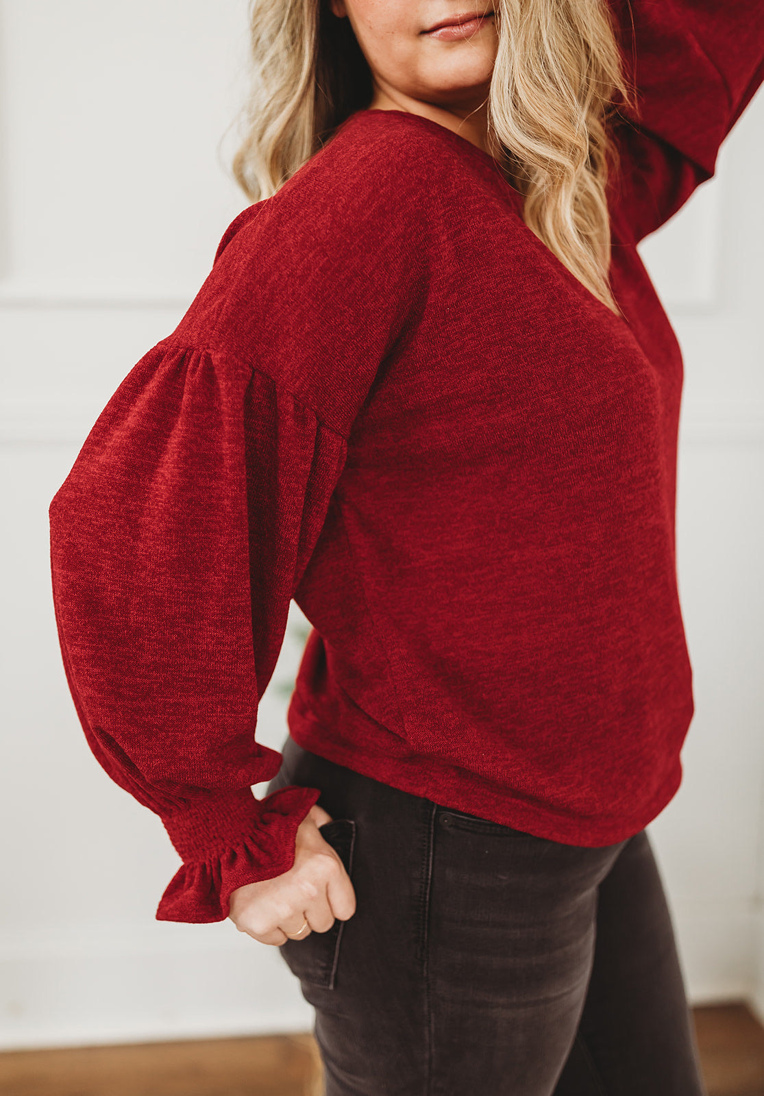Red Ruffle Sleeve Smocked Top