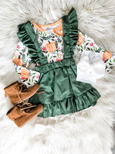 The Runaway Rascal Pumpkin Suspender & Skirt Outfit