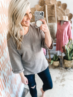 Mocha Roll Sleeve Waffleknit Top