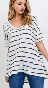 Striped V Neck Waffleknit Tunic