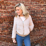 Ivory Zip Up Sherpa