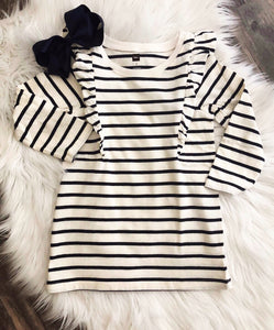 TEA Collection Striped Ruffle Shoulder Dress