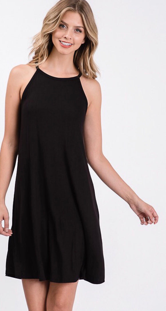Black Jersey Knit Halter Neck Dress