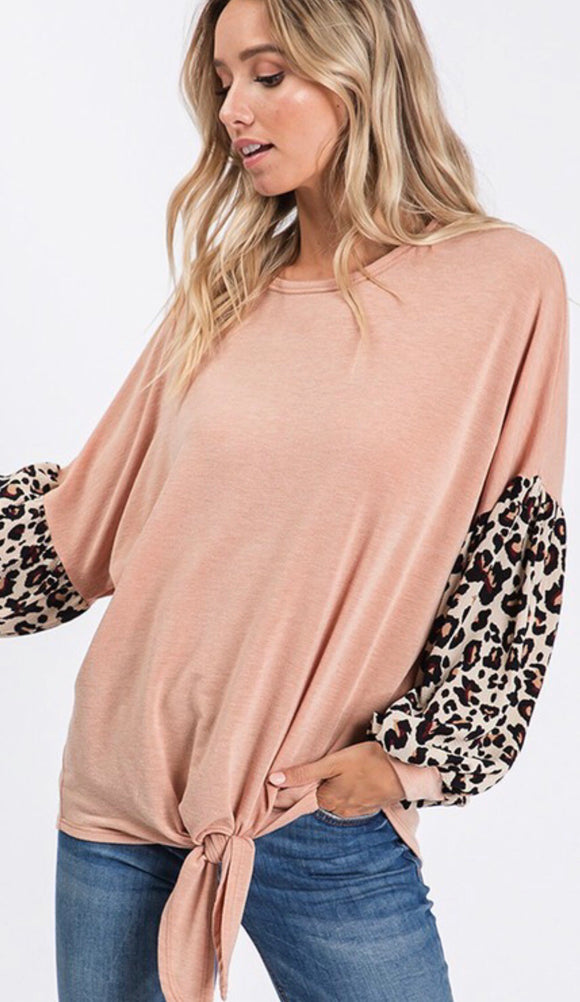 Blush Knotted Leopard Detail Sleeve Top