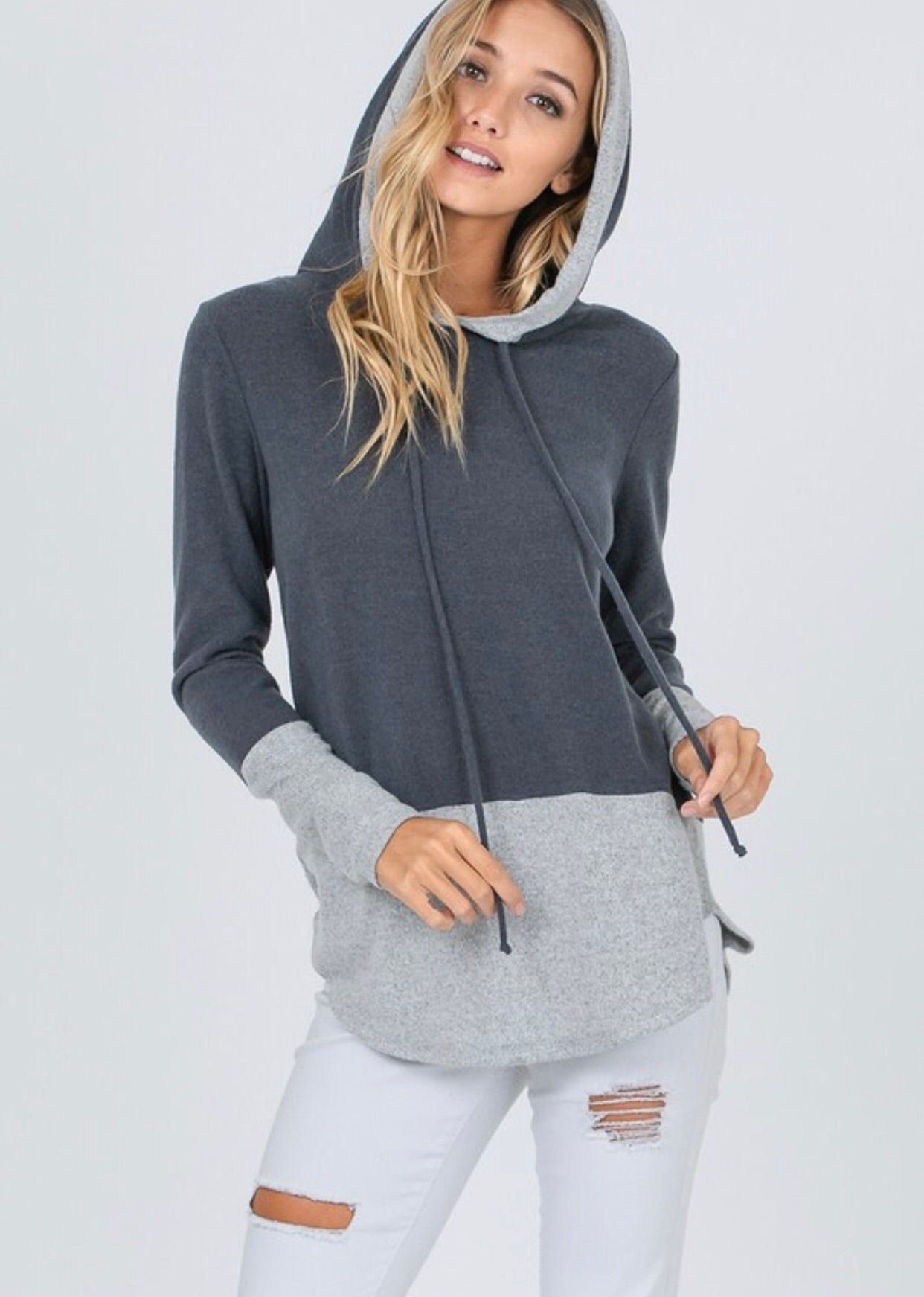Charcoal 2 Toned Hooded Sweatshirt