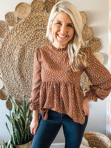 Cocoa Dotted Detail Ruffle Neck Blouse